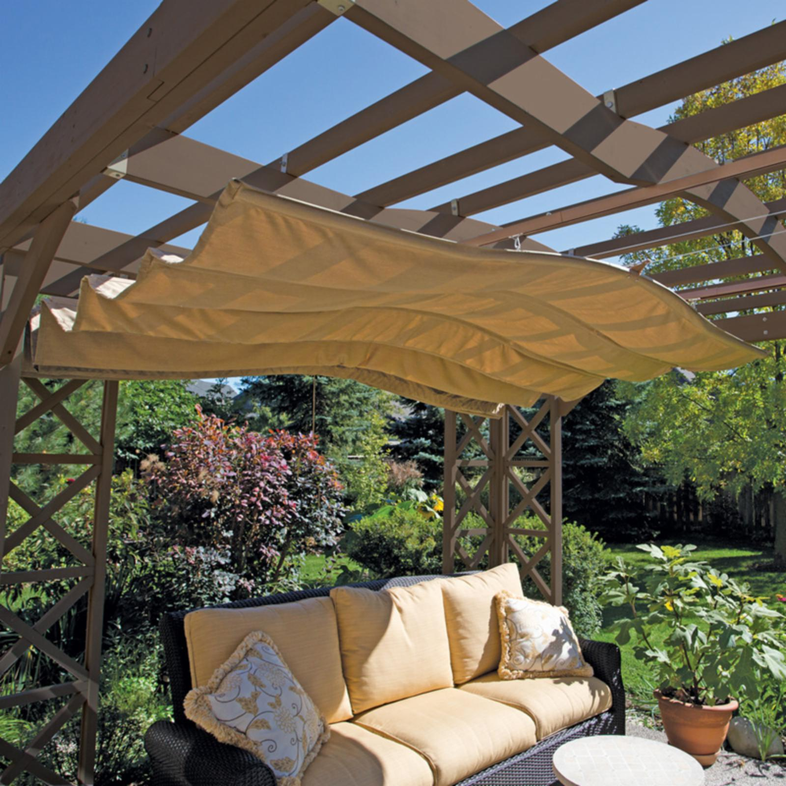 Yardistry Retractable Sunshade 12 x 12 ft. - Beige - YP11689X