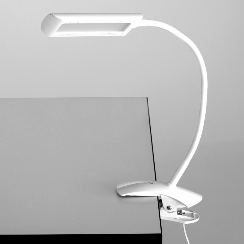 Safco Mini Vamp LED Clamp-On Desk Lamp with Flexible Arm - 1004WH