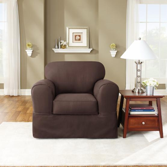 Sure Fit Twill Supreme Two Piece Chair Slipcover