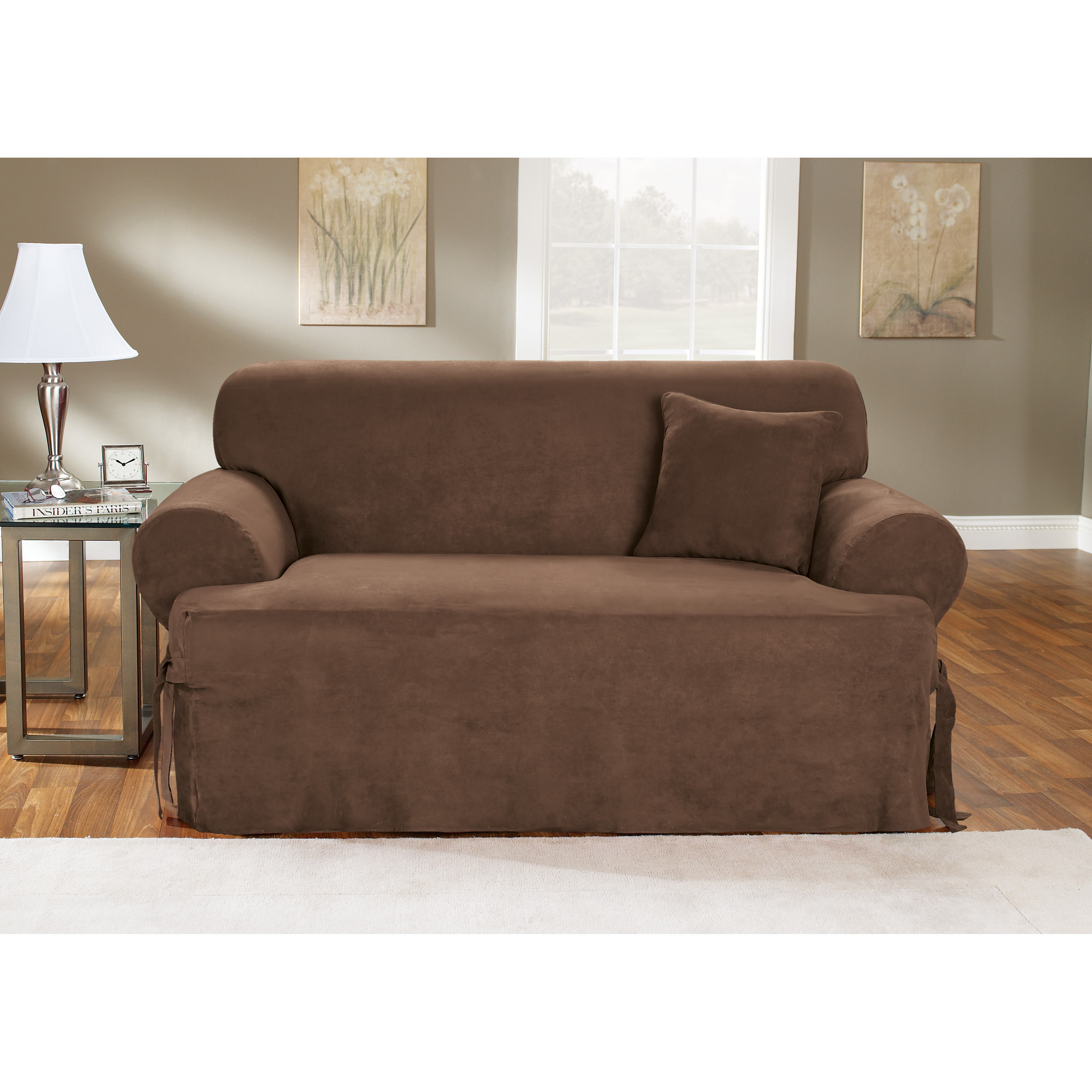 Sure Fit Soft Suede T Cushion Sofa Slipcover
