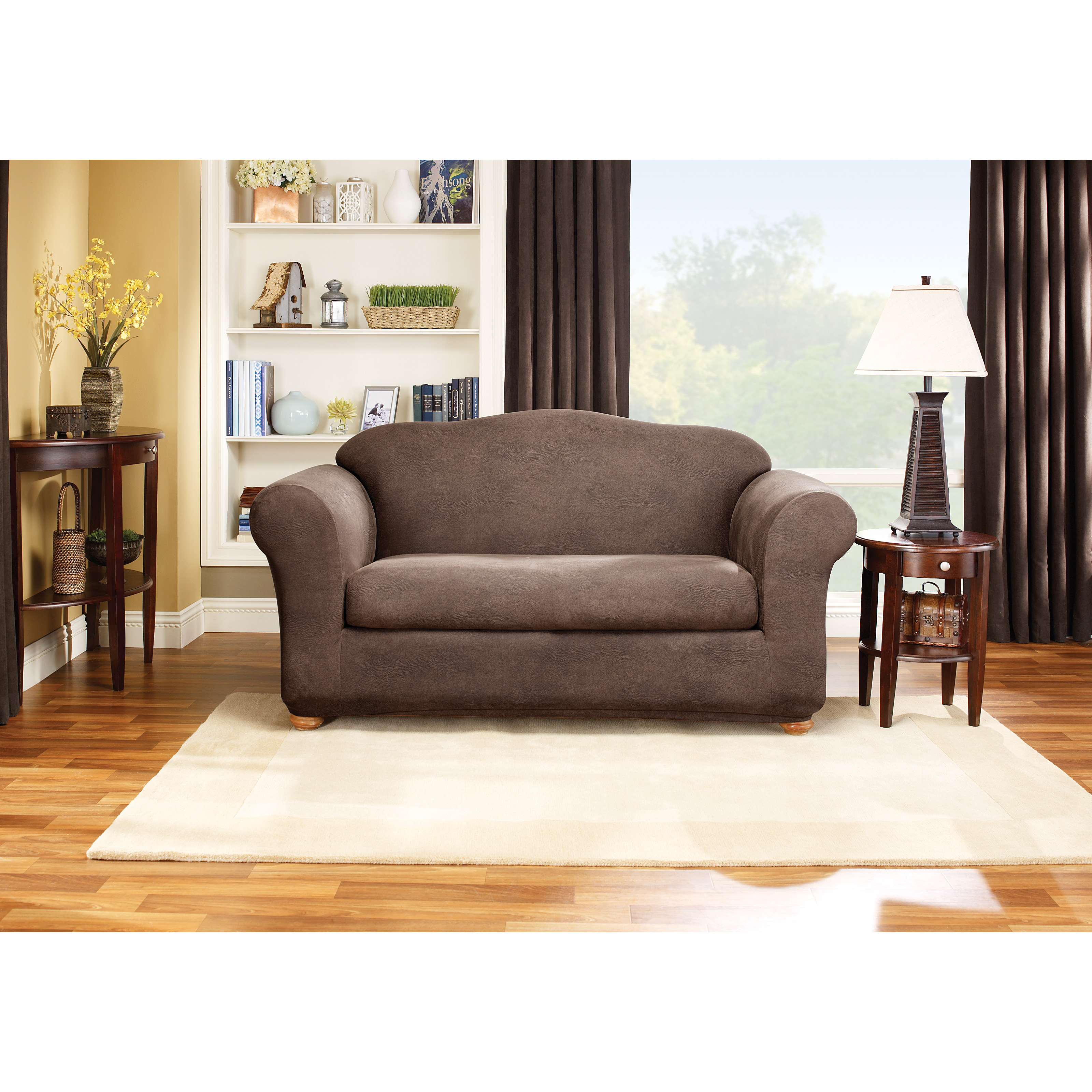 New 2 Piece T Cushion Sofa Slipcover Luxury