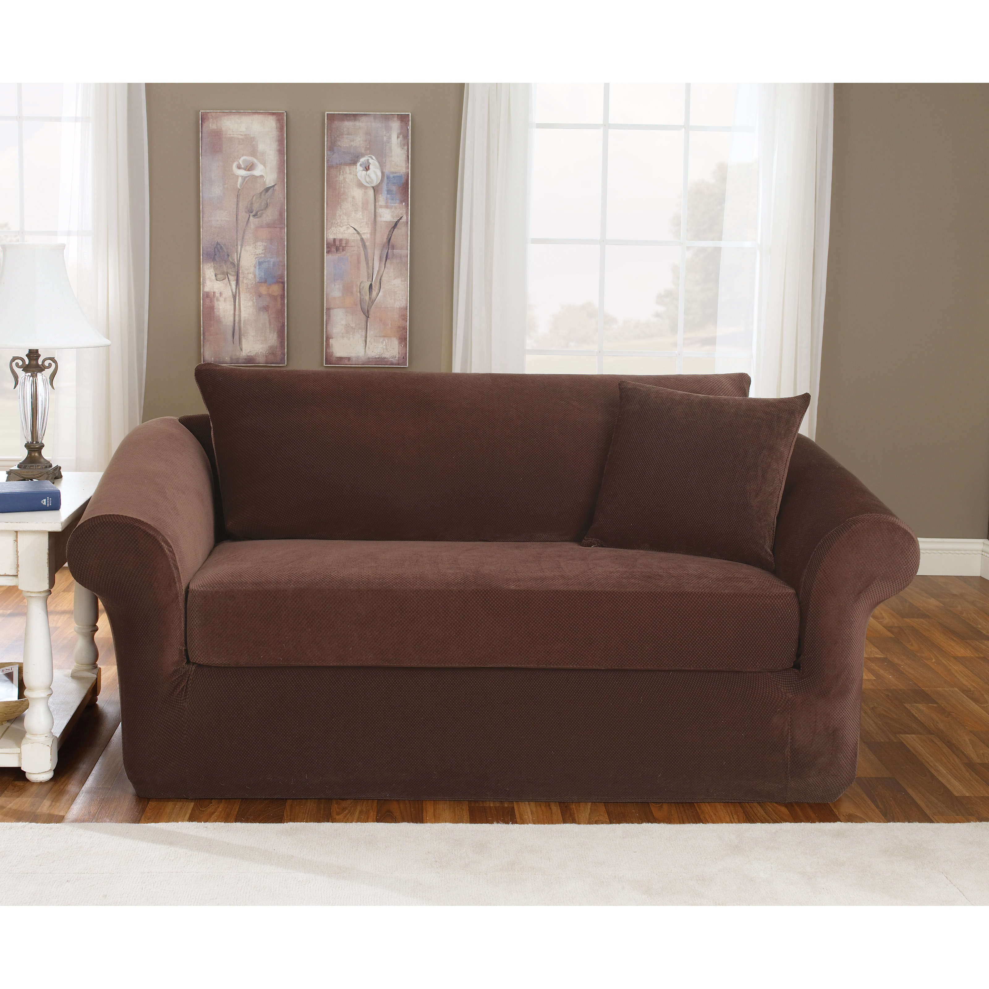 Sure Fit Stretch Pique T Cushion Three Piece Sofa Slipcover