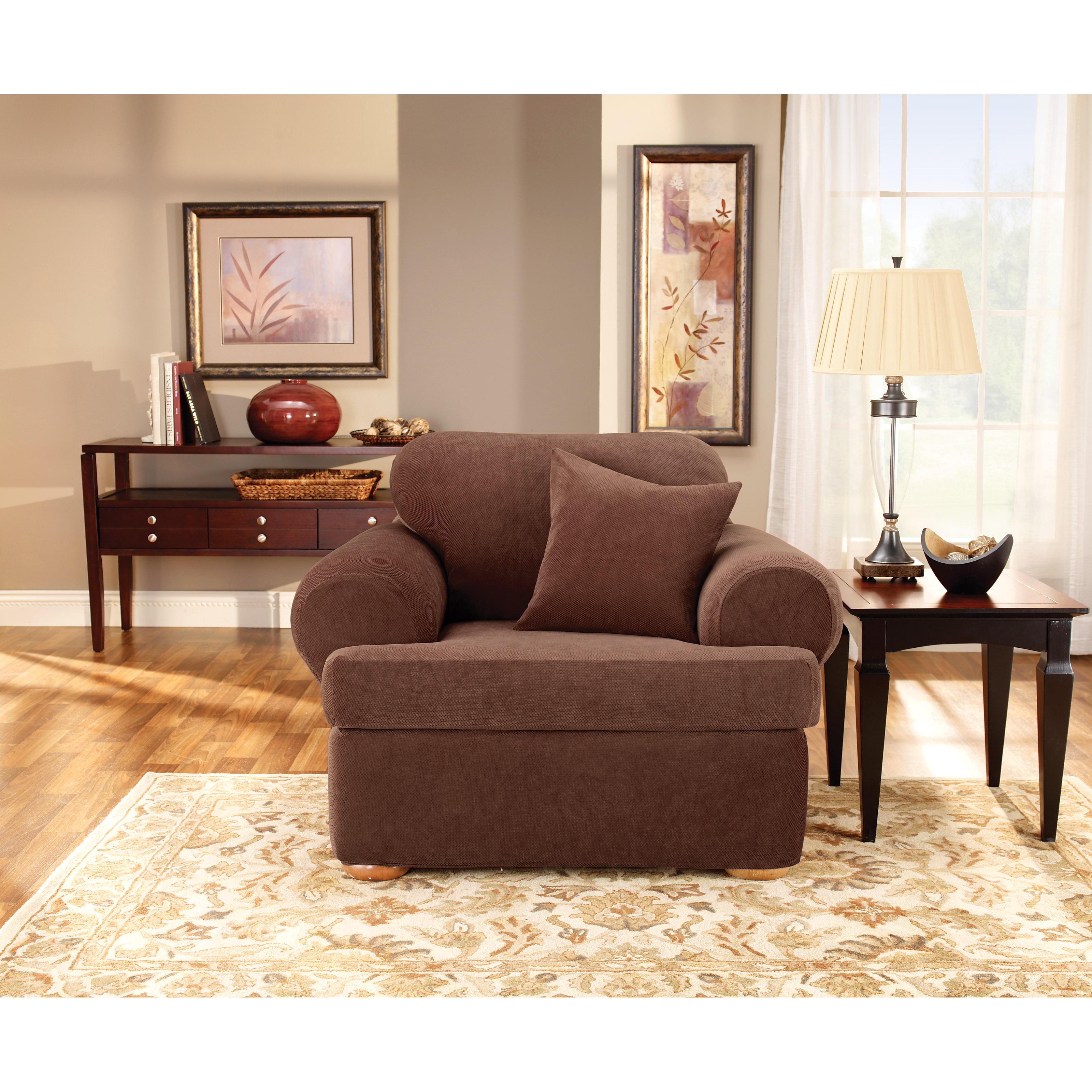 Sure Fit Stretch Pique T Cushion Two Piece Sofa Slipcover