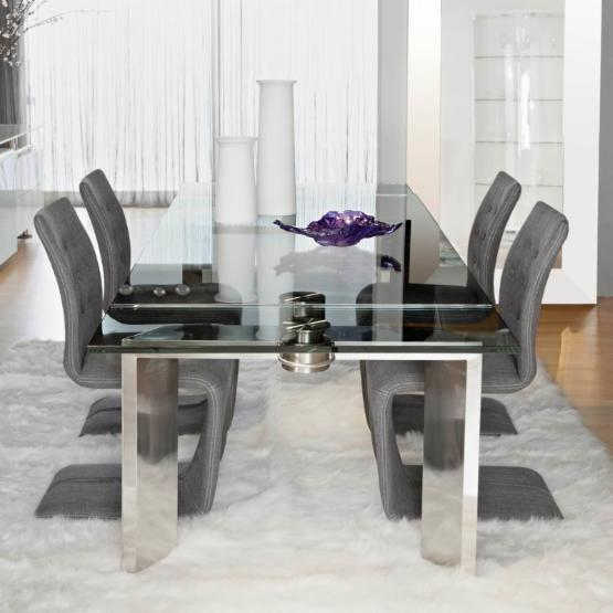 Star Interantional Furniture Mo 5 Piece Extension Dining Table Set with Forma Chairs