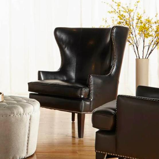 Orient Express Furniture Grant Wing Chair - Bonded Leather