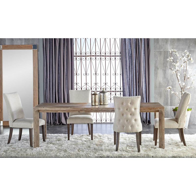 modus yosemite 8 piece rectangular dining table set with upholstered chairs and settee hayneedle
