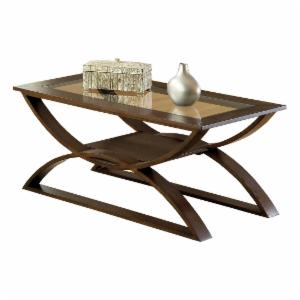 Steve Silver Dylan Rectangle Cherry Wood Coffee Table with Glass Top