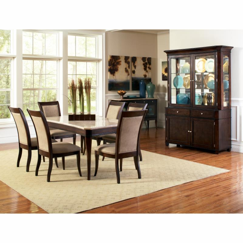 Steve Silver 7 Piece Marseille Marble Top Dining Table Se...