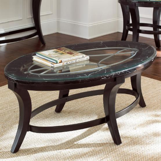 Steve Silver Cayman Oval Marble and Glass Top Coffee Table