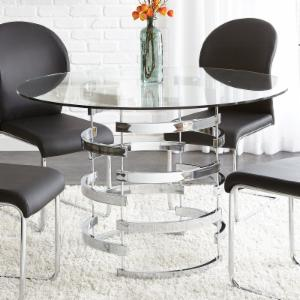 steve silver tayside tempered glass top dining table - Glass Top Dining Table