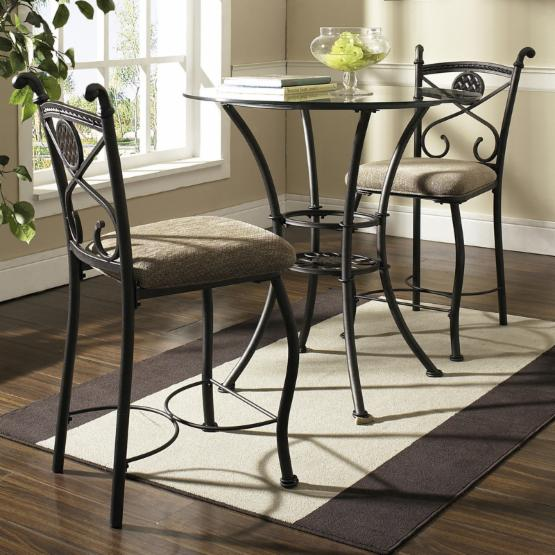 Steve Silver Brookfield Glass Top 3-Piece Counter Height Dining Table