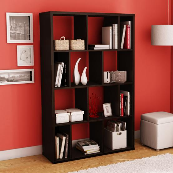 Reveal 38.75 in. Bookcase/Room Divider - Chocolate Brown