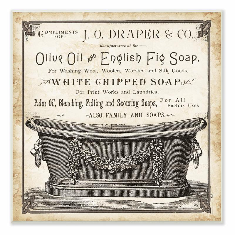 Old English Tub Olive Oil and Fig Soap Wall Plaque Art - WRP-1102_WD_12X12