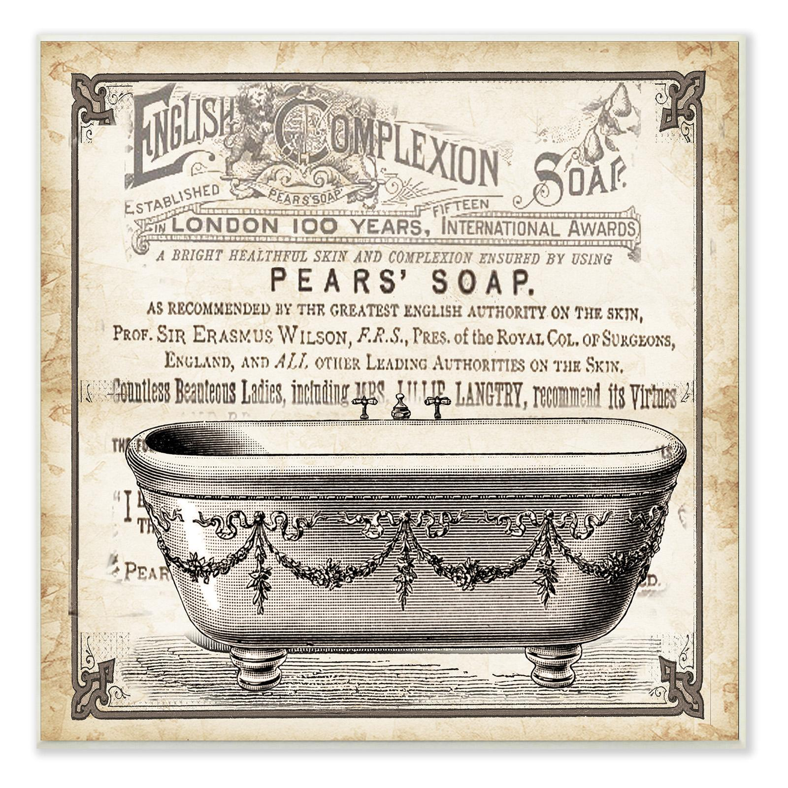 Old English Tub Pears Soap Wall Plaque Art - WRP-1103_WD_12X12