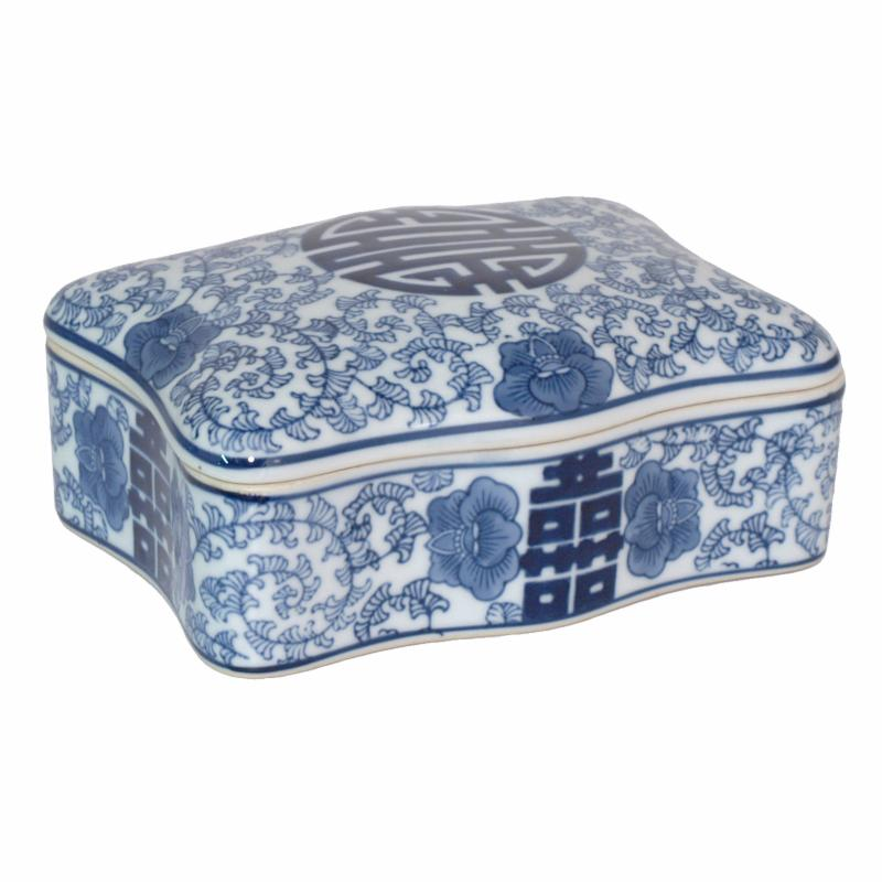 Three Hands Ceramic Blue and White Box with Lid - 77353