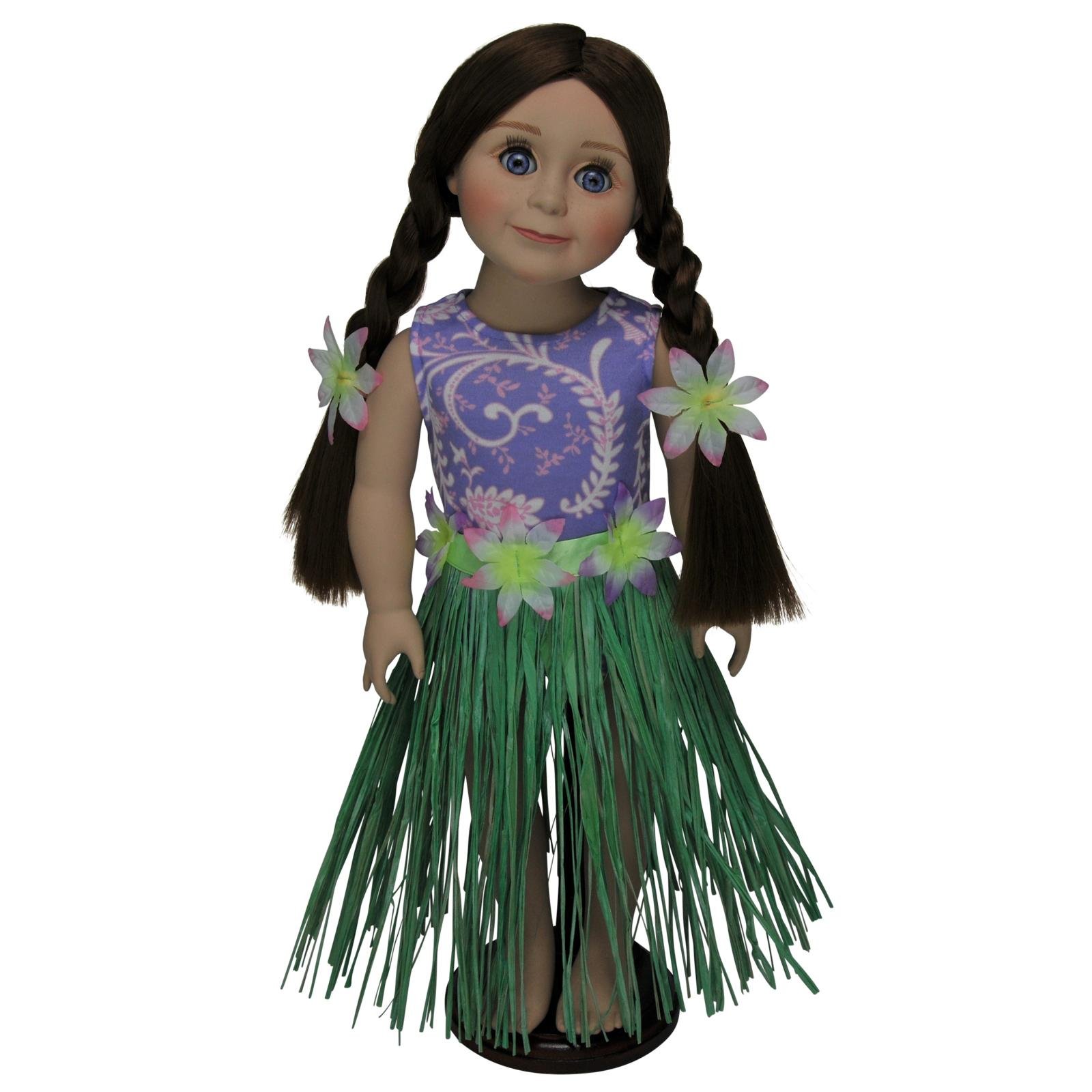 Queen's Treasures 18 in. Doll Hula Girl Swim Suit with Ac...