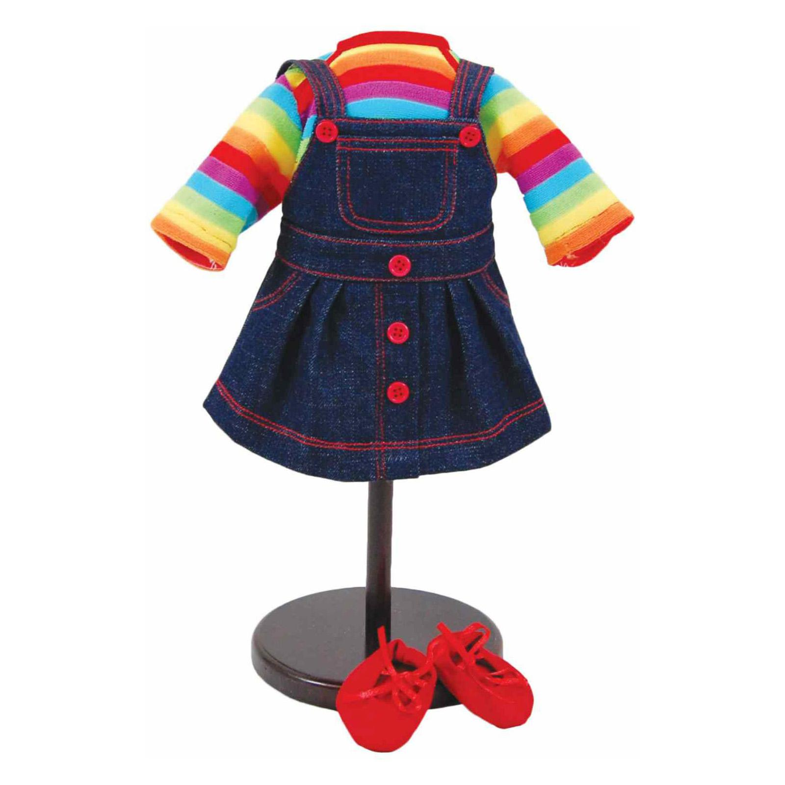 Queen's Treasures Bitty Twin Rainbow Overall Skirt, Shirt...