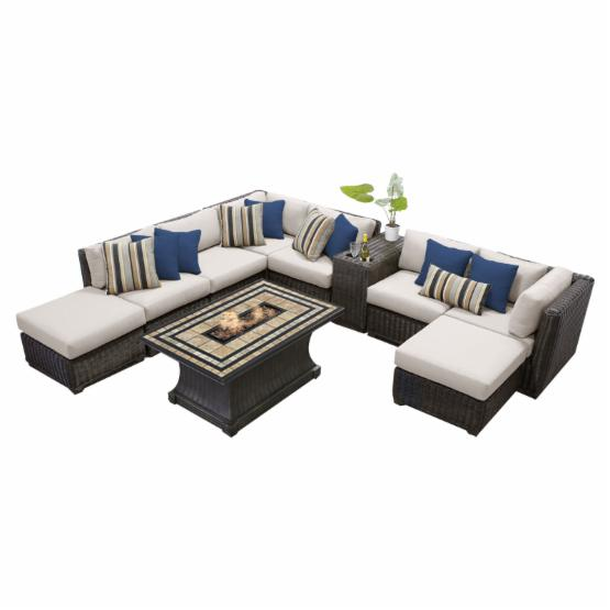 TK Classics Venice Wicker 10 Piece Patio Conversation Set with Fire Pit Table and 2 Sets of Cushion Covers