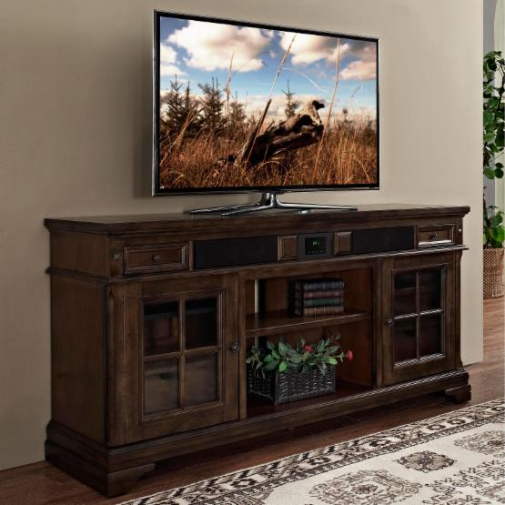 Julian Furniture Sonoma 66 in. TV Stand with Storage - Aged Hickory