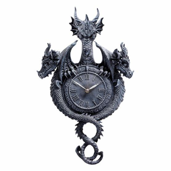 Design Toscano Past Present Future Sculptural Dragon Wall Clock