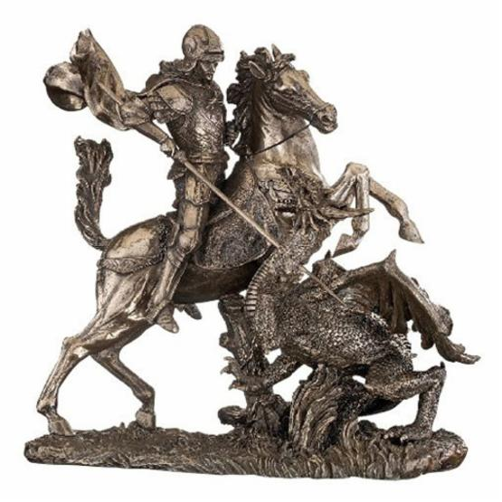 Design Toscano 10.5 in. St. George Slaying the Dragon Sculpture