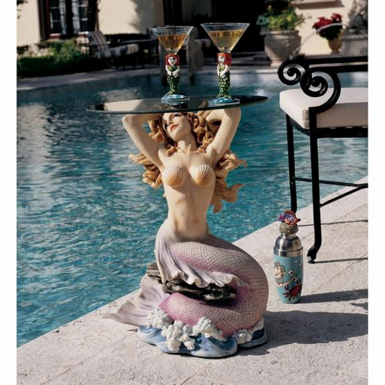 Design Toscano Mermaid of Magellans Cove Glass-Topped Sculptural Table