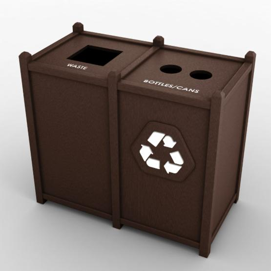 Nex-Terra ST Top Opening 32 Gallon Brown Double Recycling Bin