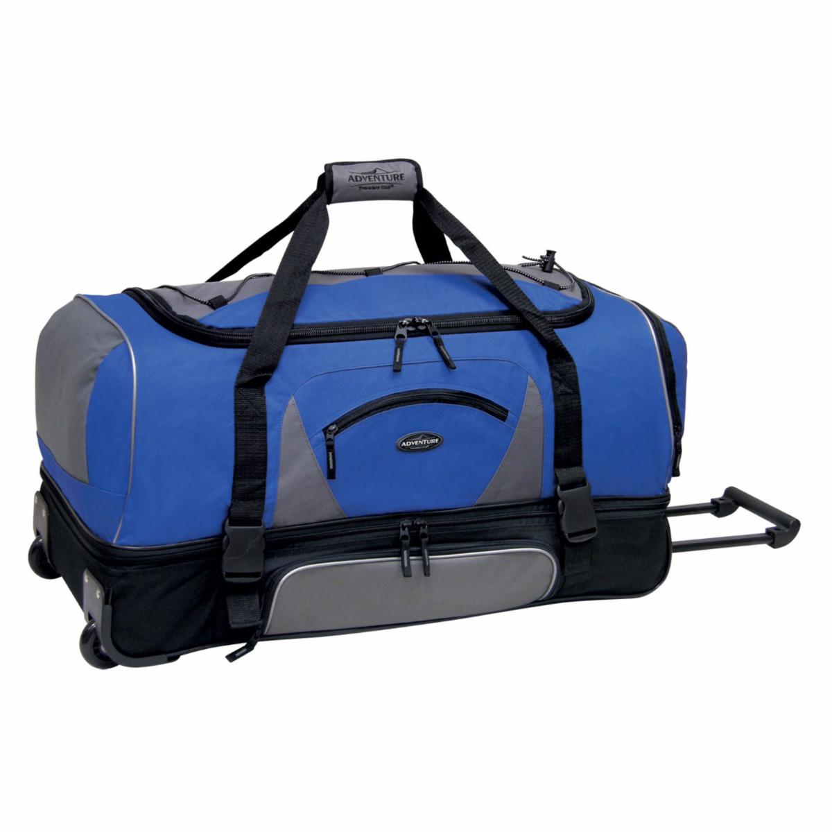 Travelers Club 30 in. 2 Section Drop Bottom Rolling Duffel Bag   Navy/Black   Sports & Duffel Bags