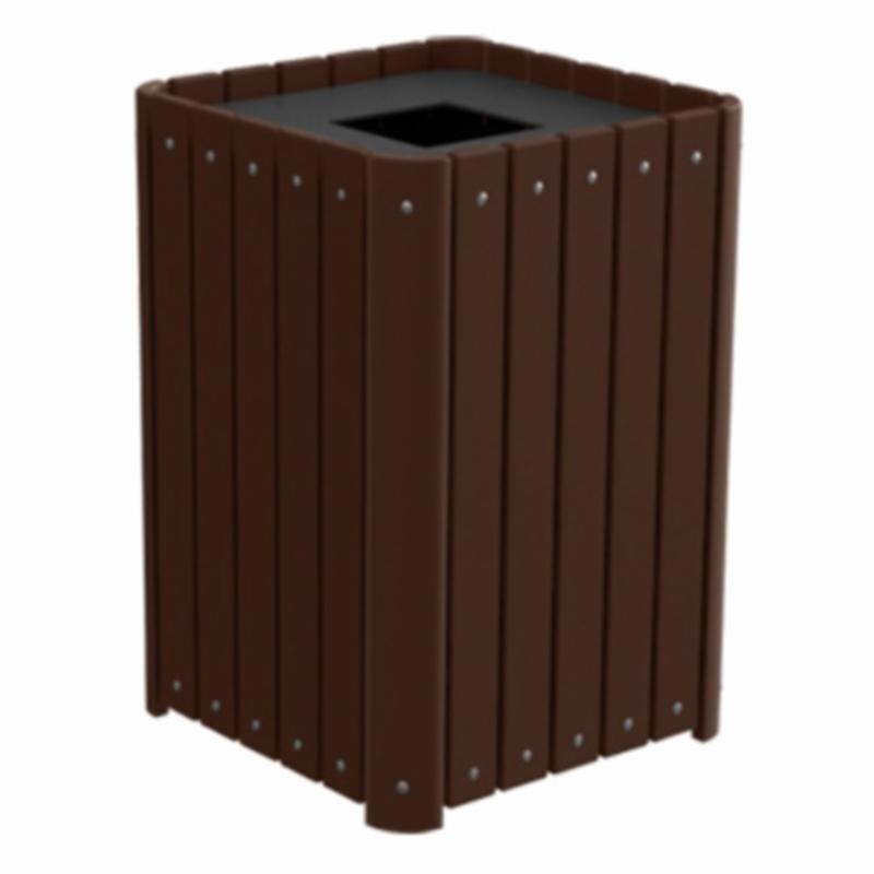 Treetop Products Regal Slatted 33 Gallon Top Load Outdoor Trash Receptacle - 4ZK4918-BN/BN