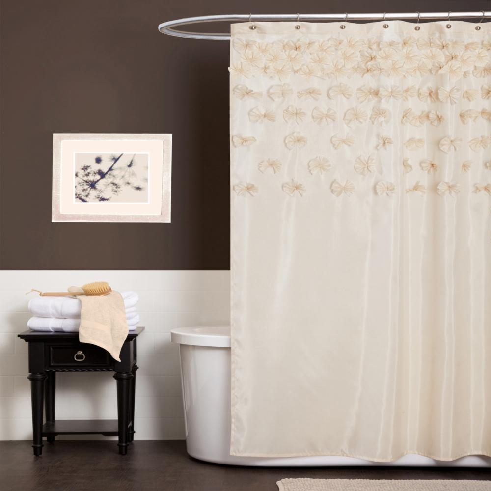 Details About Lush Decor Lucia Ivory Shower Curtain