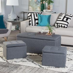 Belham Living Peyton Storage Bench with Two Ottomans