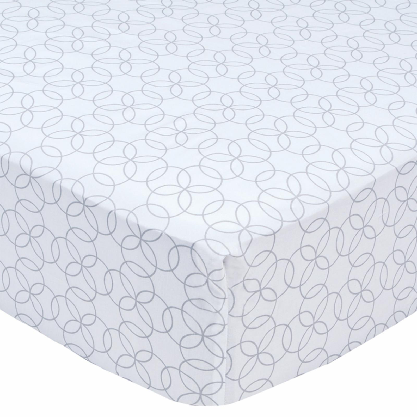 Trend Lab White and Gray Circles Fitted Crib Sheet - 101150