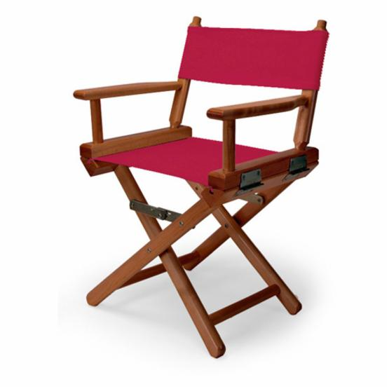 14 in. Red Child's Canvas Directors Chair - Walnut Frame