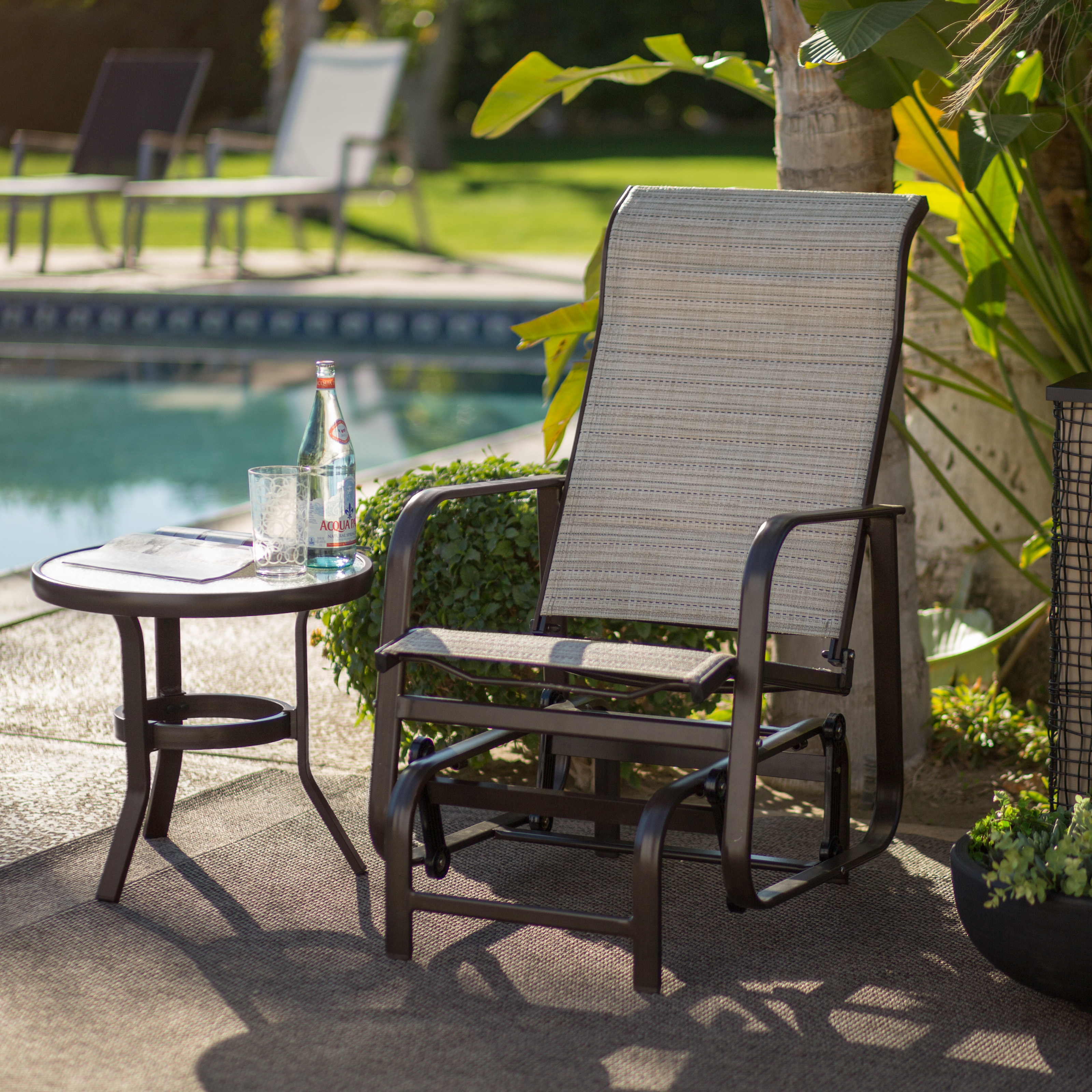 Coral Coast Del Rey Padded Sling Outdoor Glider Chair   Bronze | Hayneedle