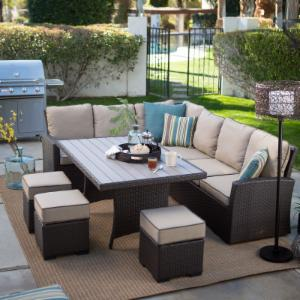 Belham Living Monticello All-Weather Wicker Sofa Sectional Patio Dining Set