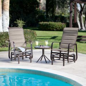 Coral Coast Del Rey Padded Sling Single Glider Set with FREE Side Table - Bronze