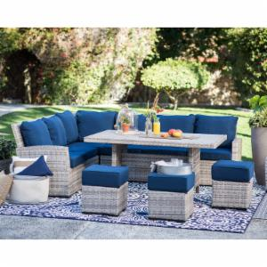 Belham Living Brookville 6 Piece All Weather Wicker Sofa Sectional Patio Dining Set