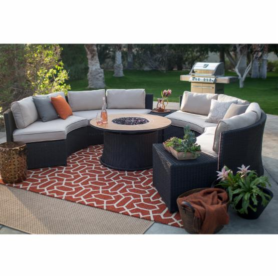 Belham Living Meridian All Weather Wicker 43 in. Fire Pit Conversation Set