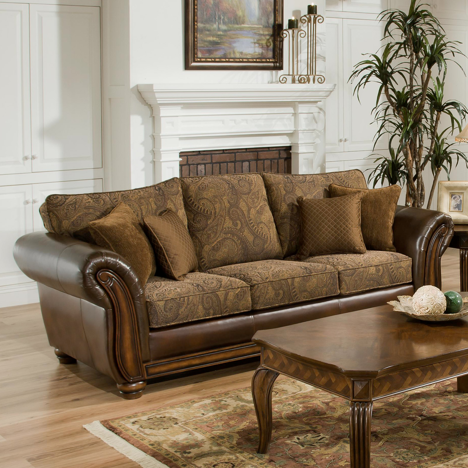 Simmons Zephyr Vintage Leather And Chenille Sofa With Accent Pillows |  Hayneedle Part 8