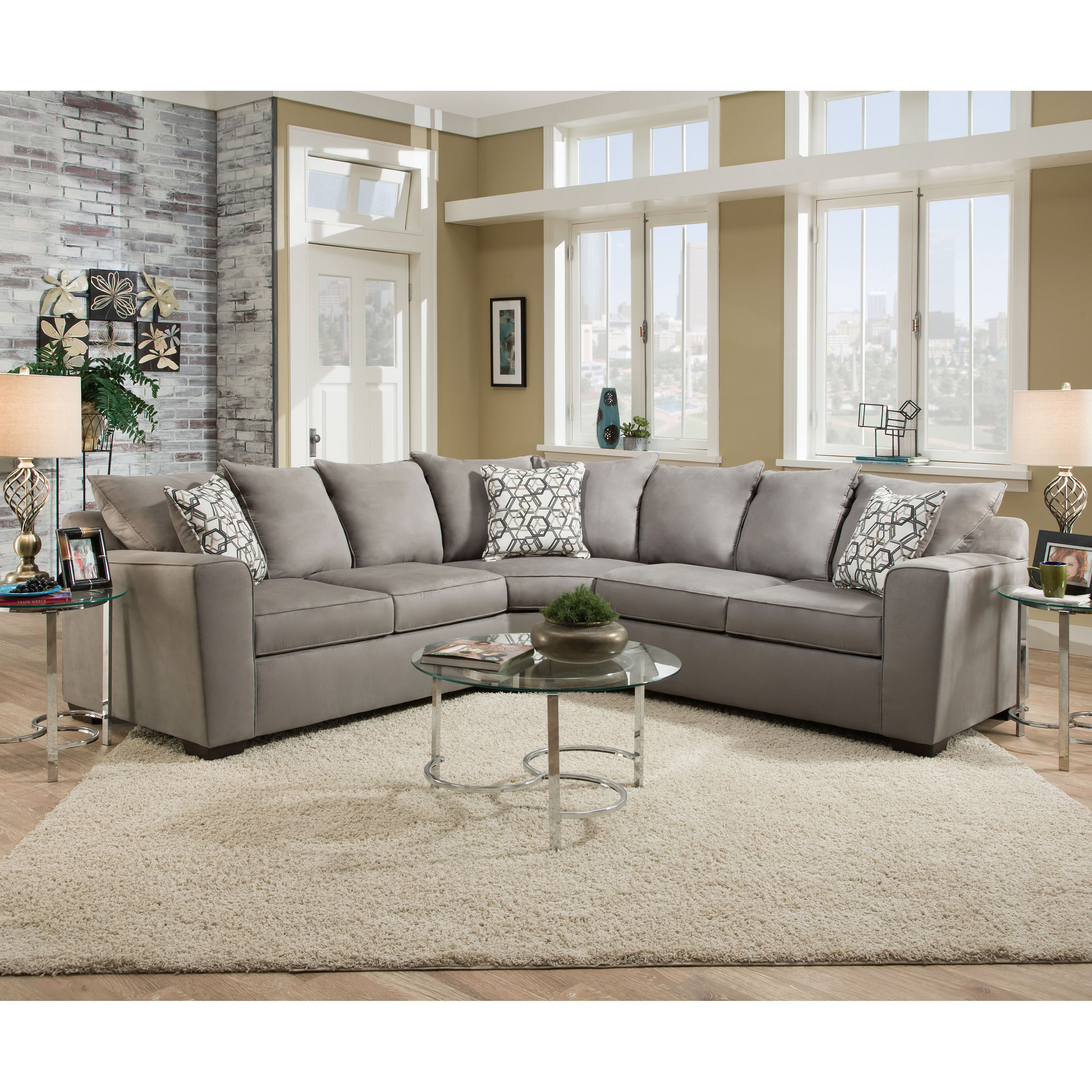 Barkley Fabric Sectional Sandstone