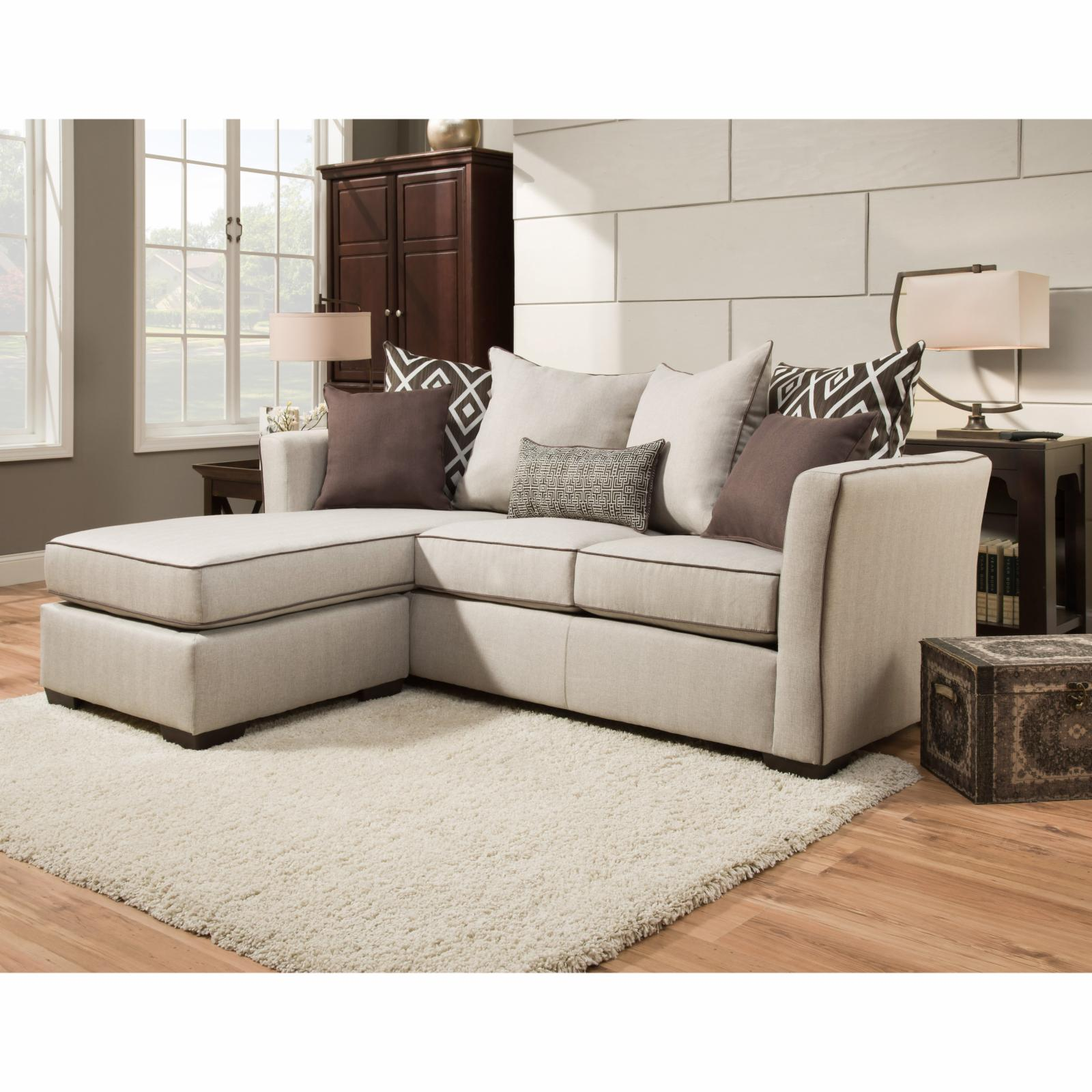 United furniture simmons upholstery stewart sofa with for Simmons sectional sofa with chaise
