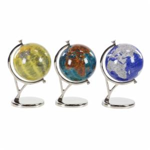 DecMode 15 in. Contemporary Pop Art Resin Globes with Aluminum Stand - Set of 3
