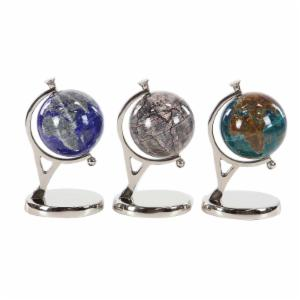 DecMode 11 in. Contemporary Resin Globes with Aluminum Stand - Set of 3