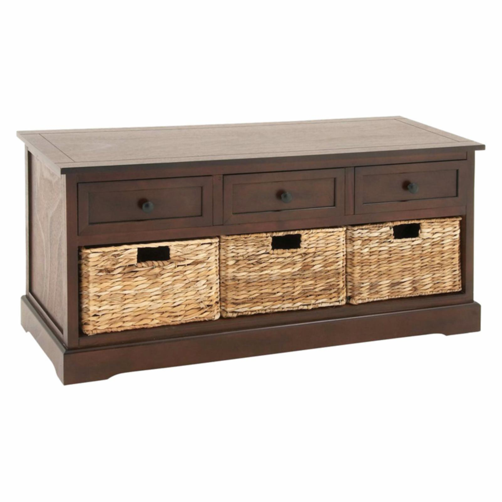 3-Drawer Wood and Wicker Basket Cabinet - 45W x 20H in. - Brown - 96178