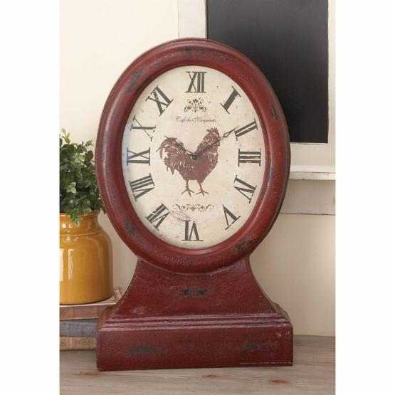 DecMode Rustic Wood Table Clock
