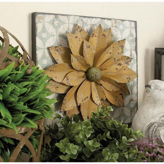 DecMode 3 Piece Metal Flowers Wall Sculpture - Multicolor