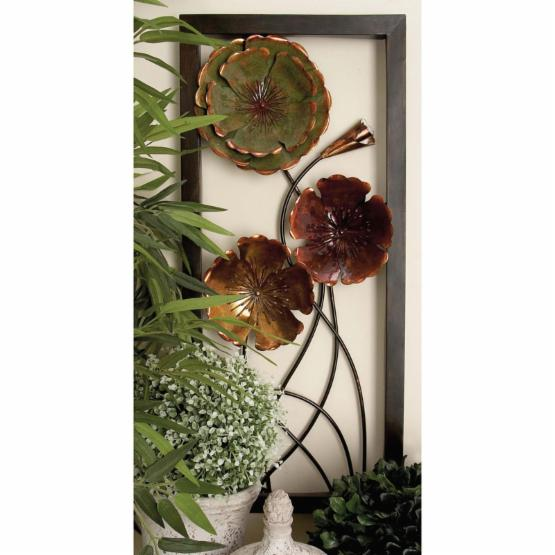 DecMode 2 Piece Framed Metal Flowers Wall Sculpture - Painted Copper