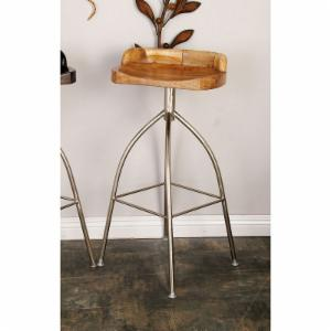 DecMode Round Low Back Metal Barstool with Wood Seat