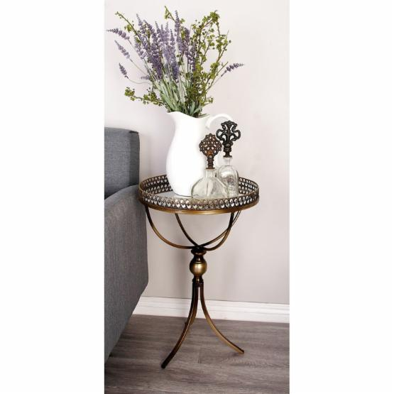 DecMode Metal Tray Top Accent Table