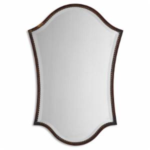 Uttermost Abra Distressed Bronze Arched Vanity Wall Mirror - 20.125W x 29.75H in.